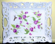 Ornate purple floral wood tray  touch of by MoanasUniqueDesigns, $45.00