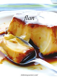 "Flan a la Caramel recipe - "".this Argentinian Style flan recipe it's made with eggs, milk, sugar and vanilla essence. Yes, with these five ingredients you can make something extraordinary!"" (grandmas flan for the dessert section of project! Kinds Of Desserts, Classic Desserts, Gourmet Desserts, Just Desserts, Delicious Desserts, Dessert Recipes, Yummy Food, Mexican Food Recipes, Sweet Recipes"