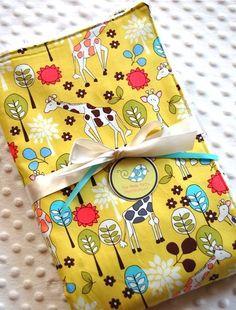 Baby Blanket  Giraffe Garden Baby Boy or Baby Girl by ThePoshTots, $30.00