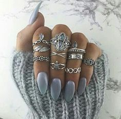 nails gray sweater rings image