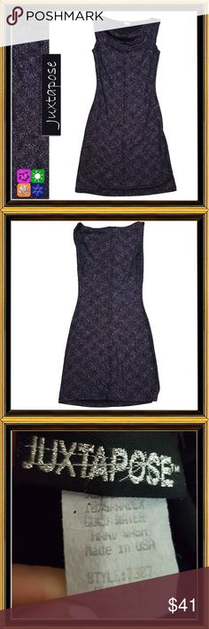 JUXTAPOSE Purple Bodycon Dress - Size Small CONDITION - EXCELLENT  Sleeveless, cowl neck with lots of glitz and glam. Wear to an after work cocktail party or out dancing.  Shoulder - 15 Chest - 32 Waist - 28 Hips - 36 Swale - 40 Garment Length - 38 Juxtapose Dresses Mini