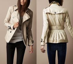 Burberry Short Cotton Gabardine Pin Tuck Trench Coat ($795)