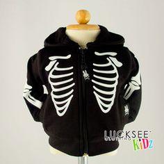 SKELETON RIBS HOODIE Kids and baby rock hoodies