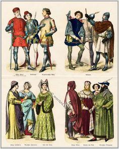 Italian 14th century clothing. Viktor Pisani, Venetian Admiral. Italian pages, Neapolitan knight, soldiers, archer. Italian woman, nobles of...