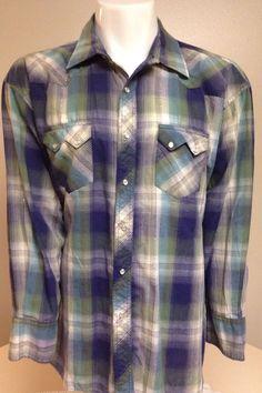 Rustler Western Green Blue White XXL Long Sleeve Pearl Snap Front Shirt 2XL #Rustler #Western
