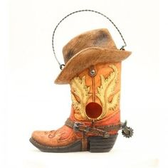 Cute! M Western Boot/Hat Bird House