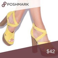 ShoeDazzle Yellow Cayla-Style Heels Never worn. 5 inch heel with 1.5 inch platform Shoe Dazzle Shoes Heels