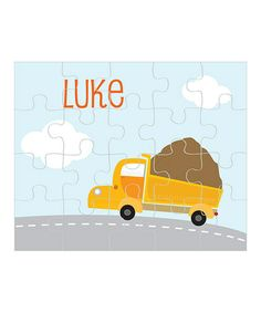 Take a look at this Dump Truck Personalized Puzzle by sarah + abraham on #zulily today!