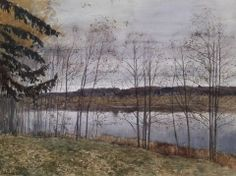 Isaac Levitan (1860 — 1900, Russia) Autumn. 1896 watercolor and ceruse on paper. 31 x 44 cm.