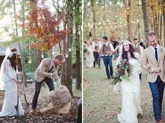 tree planting. Boho dress. Our wedding ideas