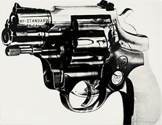 ANDY WARHOL | Gun, 1981-1982 | acrylic and silkscreen ink on canvas  Sold for $7,026,500 at the Contemporary Art Evening Sale, 10 May 2012, New York. [Video]  Jordan Crandall: You don't like guns, do you?  Andy Warhol: Yes, I think they're really kind of nice.  (From Splash No. 6, 1986, excerpted in I'll Be Your Mirror: The Selected Andy Warhol Interviews, Edited by Kenneth Goldsmith, New York, 2004, p. 373).  After Andy Warhol's assassination attempt in 1968 by Valerie Solanas, much