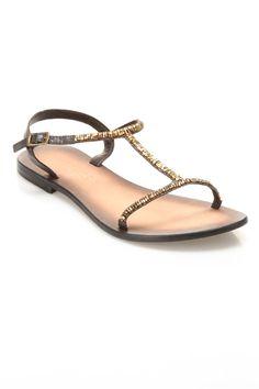 Delphi Flat Sandal in Brown