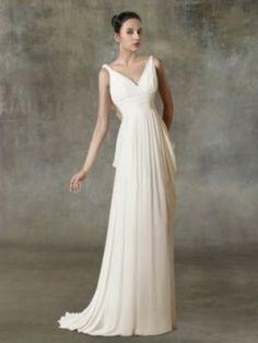 Ausschnitt Empire Figutbetont Schlicht Chiffon Hochzeitskleid