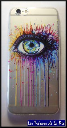 Coque pour iPhone 6/6S - OEIL & PEINTURE - Silicone - Transparent & multicolore Coque Iphone 6, Transparent, Smartphone, Geek Stuff, Phone Cases, Coke, Diy, Phone Accessories, Eyes