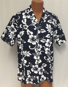 Vintage Ali'i Hawaiian Shirt M Men's Blue Hibiscus Matched Pocket Wood Buttons #Alii #Hawaiian