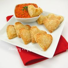Mozzarella Cheese Filled Hearts with Roasted Red Pepper Pesto
