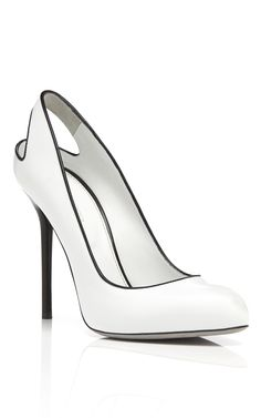 Trendy High Heels Inspiration Sergio Rossi white patent pump with cut out heel and black piping Pretty Shoes, Beautiful Shoes, Cute Shoes, Me Too Shoes, Stilettos, High Heels, Shoe Boots, Shoes Heels, Dream Shoes