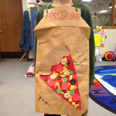 Cute pizza party aprons. Use a brown grocery sack, using the lines on the front of the bag, cut out the shape of an apron. Have pieces of paper and cut out veggies/ toppings ready to glue as a pizza. Use a hole punch for holes and tie with yarn. For extra authentic suede looking aprons, crumple the paper.