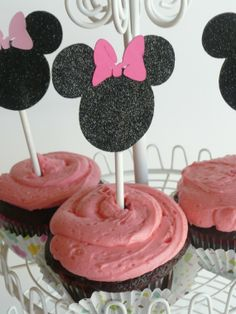 Minnie Mouse Glitter cupcake toppers