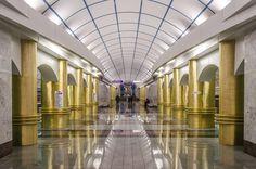 Mezhdunarodnaya (Международная) underground station. Saint Petersburg (Russia).