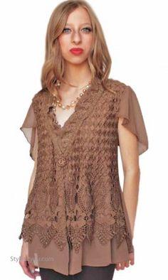 7c54db53b84 Esme Ladies Vintage Reproduction Cardigan Brown Pretty Angel Top