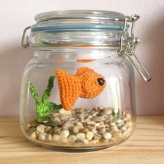 Crocheted gold fish. What a cute idea.
