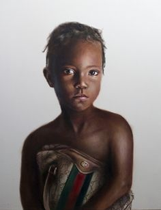 Johan Andersson, Sweden (b.1986), Haitian Girl Holding Gucci Bag_ In 2007 Andersson became the youngest ever artist to be shortlisted for the BP Portrait Award, winning third prize for his painting Tamara.,[2] which was viewed by over 195,000 people.[3] The representational simplicity of his early work has been compared to recent works by Alex Katz. Andersson is also a winner of the Jerwood Foundation Contemporary Painters Prize