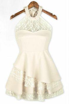 White Halter Contrast Lace Ruffles Chiffon Dress