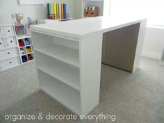 Craft table from two bookshelves n wood slab