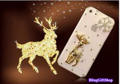 Clear Bling sika deer iphone 5s case,iphone 5c case,snow flake iphone 5 case,iphone 4 case, iPhone 4s case