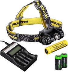 Nitecore HC50 565 Lumens CREE XML2 LED headlamp Genuine Nitecore NL189 18650 3400mAh Liion rechargeable battery Fenix AREC2 intelligent Charger and Two EdisonBright CR123A Lithium Batteries ** For more information, visit image link.(This is an Amazon affiliate link and I receive a commission for the sales)