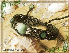 糸魚川翡翠の透かし編みブレスレット(海松/翡翠・モスアゲート・水晶) | 「Capricieux chat noir」