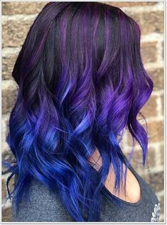 Best blue hair color ideas for bold and fashionable ladies to show off right now. See our list of best ever trends and shades of blue hair colors that is really perfect in year Here we have brought some awesome styles and colors of blue shades to ap Blue Purple Hair, Ombre Hair Color, Cool Hair Color, Brown Hair Dyed Blue, Hair Color For Kids, Blue Ombre, Balayage Violet, Balayage Hair, Haircolor