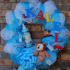 Made by Stephanie Collier Baby Shower Deco, Baby Deco, Baby Shower Games, Baby Boy Shower, Baby Showers, Baby Boy Wreath, Baby Wreaths, Deco Mesh Wreaths, Fabric Wreath