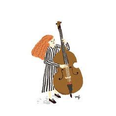 wanna play a bass. いつかウッドベースを弾いてみたい。  #illustration #art #drawing #イラスト #jazz #play #music #bass #contrabass #絵日記