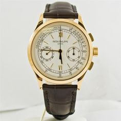 Patek Philippe 18k Yellow Gold Mens Watch With Leather Strap & Gold Clasp 5170J | eBay