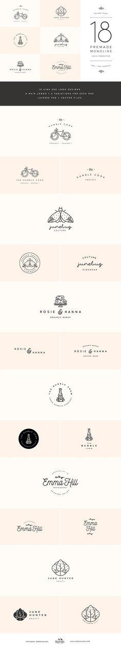 Monoline Premade Logo Templates Vol4 by Rogue Logo on @creativemarket