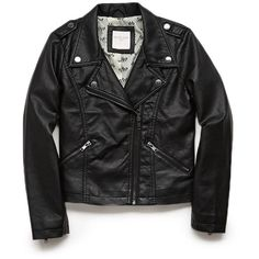 FOREVER 21 GIRLS Faux Leather Moto Jacket (Kids) ($25) ❤ liked on Polyvore featuring kids, baby and baby clothes