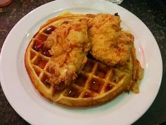 Fried Chicken and Waffles at Stax Diner Fried Chicken And Waffles, Carnaby Street, Tasty, Yummy Food, London Food, Fries, Floor, Buttons, Breakfast