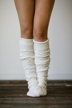 Knitted Slipper Boot Socks Cable Knit Lounge by ThreeBirdNest. And how cute is that!