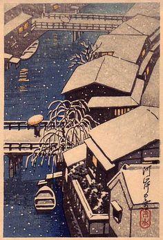 Kawase Hasui ~ River in Snow, c.1930s (woodcut)