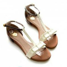 Sweet Style Casual Women's Sandals With Color Matching Flat Heel and Bow Design