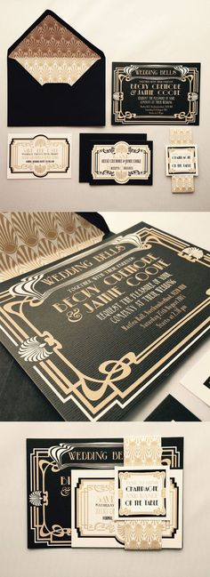 These pretty black and gold wedding invitations would be perfect for a great Gatsby inspired wedding. Includes Invite, Save the Date, RSVP, Belly Band and Envelopes with matching inserts. Art Deco Wedding Invitations, Vintage Wedding Invitations, Wedding Themes, Wedding Stationery, Wedding Ideas, 1920s Party Themes, Gatsby Wedding Decorations, Black And Gold Invitations, Art Deco Wedding Theme