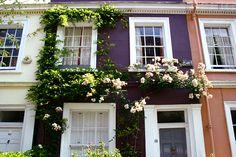 Idea: Georgian windows and doorway, painted brickwork, flowers