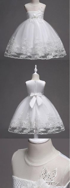 A-line Beaded White Lace Flower Girl Dresses With Handmade Flowers ,Cheap Flower Girl Dresses by ainiprom, $89.56 USD