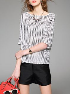 Casual Half Sleeve Printed Crew Neck Polyester Blouse