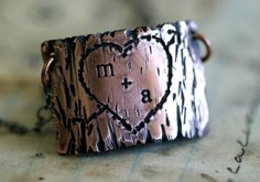 Tree Bark Lovers Carving Copper Necklace This would be cute as a cuff bracelet