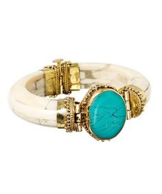 Another great find on #zulily! Teal Agate & Goldtone Bangle #zulilyfinds