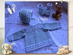 El rincón de Chelo: Conjunto para bebé en algodón azul y angora blanca Baby Knitting Patterns, Baby Patterns, Knit Crochet, Kids Rugs, Children, Pretty, Blog, How To Make, Decor
