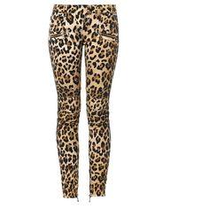 Balmain Leopard-print mid-rise skinny biker jeans ($992) ❤ liked on Polyvore featuring jeans, pants, housut, calças, leopard, white jeans, zipper skinny jeans, leopard skinny jeans, mid rise skinny jeans and balmain jeans